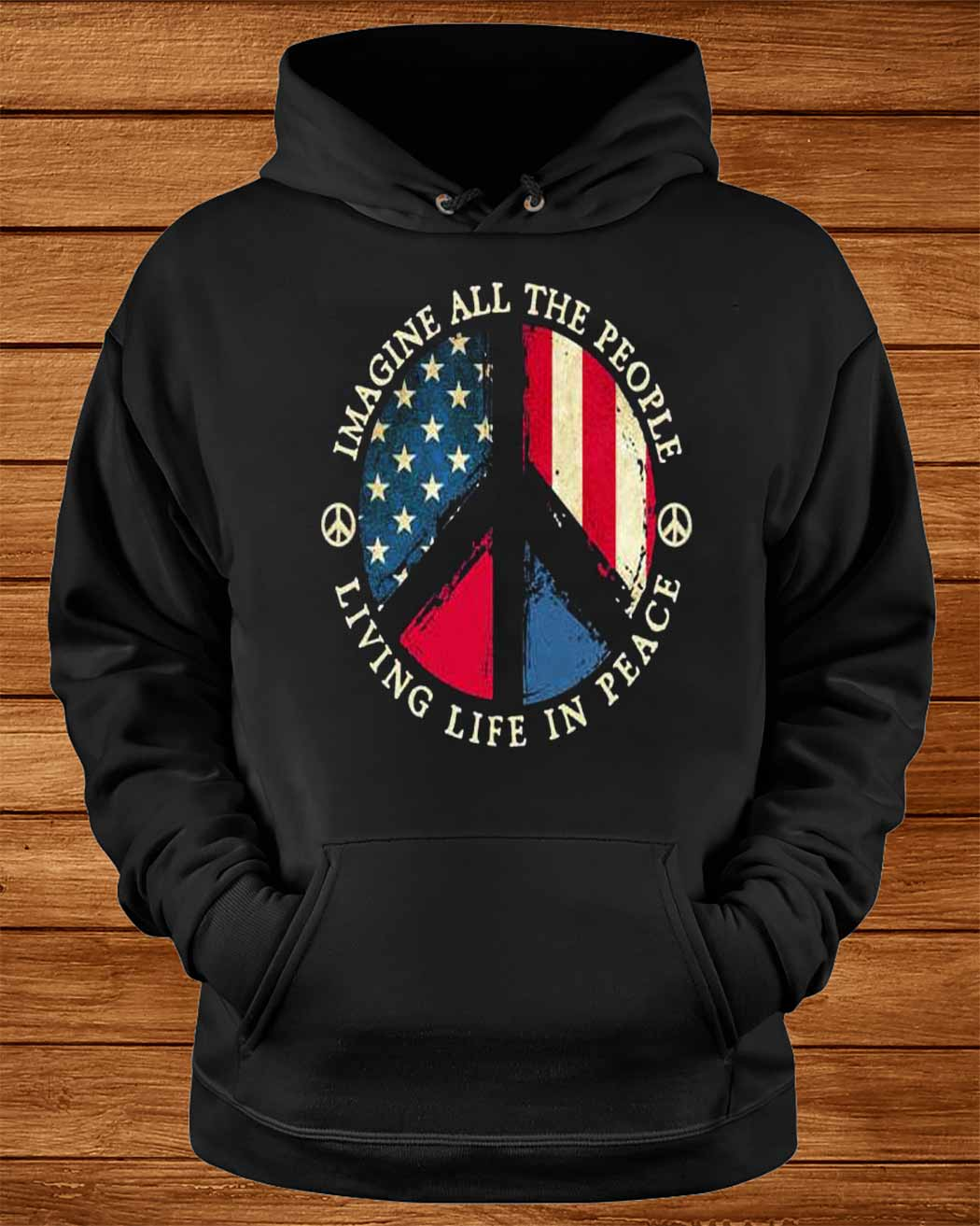 Imagine All The People Living Life In Peace American Flag Shirt